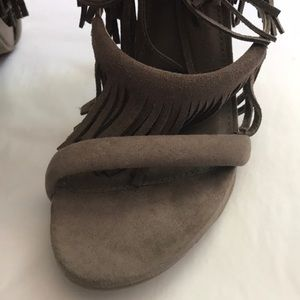 Mossimo Supply Co. Shoes - NWT Mossimo Taupe Suede Fringe High Heel